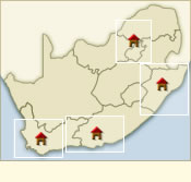 Map of Hotels in regions of South Africa